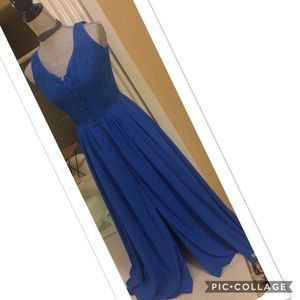 Vintage Embroidered Royal Blue Maxi Dress S ♥️